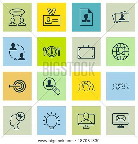 Set Of 16 Business Management Icons. Includes Coaching, Cooperation, Cv And Other Symbols. Beautiful Design Elements.