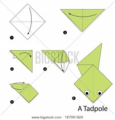 step by step instructions how to make origami a Tadpole.