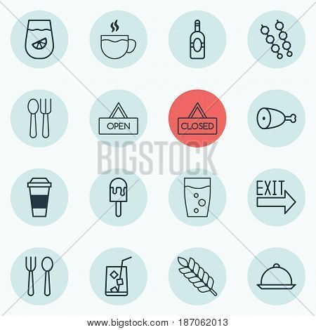 Set Of 16 Cafe Icons. Includes Board, Hooch, Soda Drink And Other Symbols. Beautiful Design Elements.