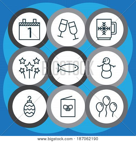 Set Of 9 New Year Icons. Includes Air Ball, Agenda, Champagne Glasses And Other Symbols. Beautiful Design Elements.