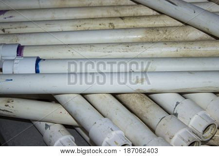 A stack on PVC pipes used for farm irrigation.