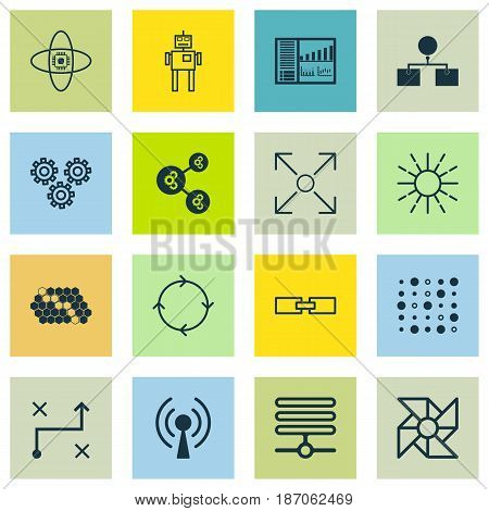 Set Of 16 Artificial Intelligence Icons. Includes Branching Program, Radio Waves, Controlling Board And Other Symbols. Beautiful Design Elements.