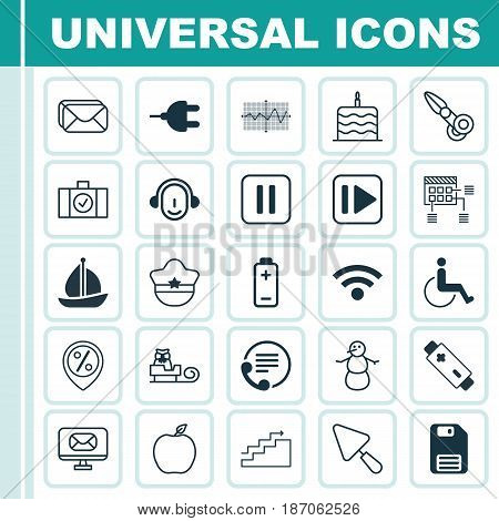Set Of 25 Universal Editable Icons. Can Be Used For Web, Mobile And App Design. Includes Elements Such As Following Music, Celebration Cake, Nectarine And More.