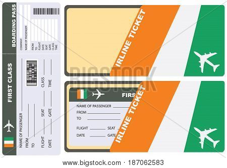 Service envelope for air ticket to Coast Ivory. Vector.