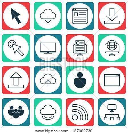 Set Of 16 Internet Icons. Includes Display, Program, Mouse And Other Symbols. Beautiful Design Elements.