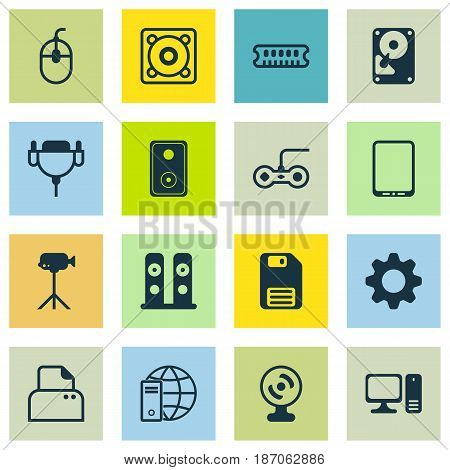 Set Of 16 Computer Hardware Icons. Includes Cellphone, Diskette, Dynamic Memory And Other Symbols. Beautiful Design Elements.