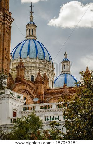 The Blue roof cathedral as a dominant of town of Cuenca Ecuador