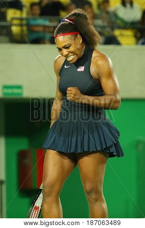 Olympic champion Serena Williams of United States in action during her singles round two match of the Rio 2016 Olympic Games
