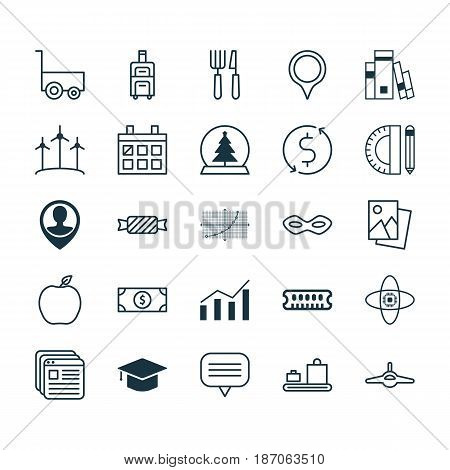 Set Of 25 Universal Editable Icons. Can Be Used For Web, Mobile And App Design. Includes Elements Such As Freight Trolley, Library, Baggage Carousel And More.