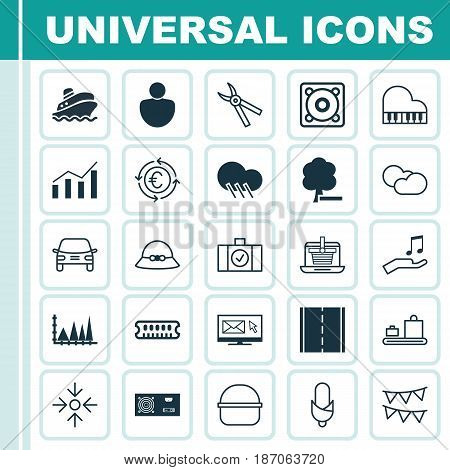 Set Of 25 Universal Editable Icons. Can Be Used For Web, Mobile And App Design. Includes Elements Such As Photo Camera, Human, Newsletter And More.
