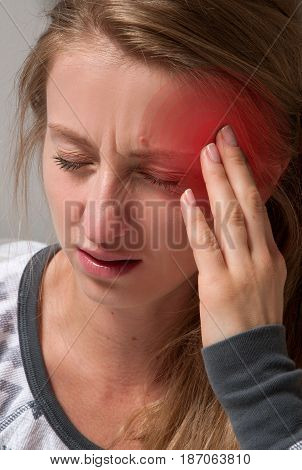 Health And Pain. Woman has headache migraine