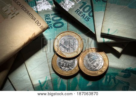 Top view of Reais, Brazilian money.