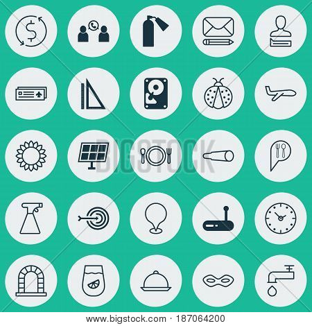 Set Of 25 Universal Editable Icons. Can Be Used For Web, Mobile And App Design. Includes Elements Such As Check In, Airport Card, Spigot And More.