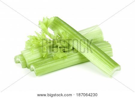 Celery green fresh with leaves, isolated on white background