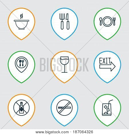 Set Of 9 Restaurant Icons. Includes Lemon Juice, Cutlery, Doorway And Other Symbols. Beautiful Design Elements.