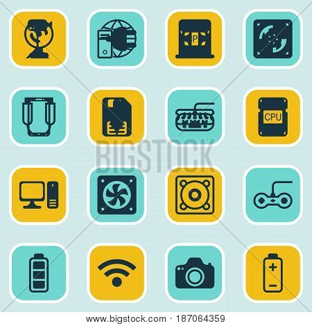 Set Of 16 Computer Hardware Icons. Includes Wireless, Accumulator Sign, Camcorder And Other Symbols. Beautiful Design Elements.