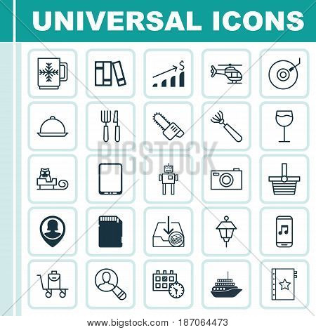 Set Of 25 Universal Editable Icons. Can Be Used For Web, Mobile And App Design. Includes Elements Such As Cellphone, Dining, Spectator And More.