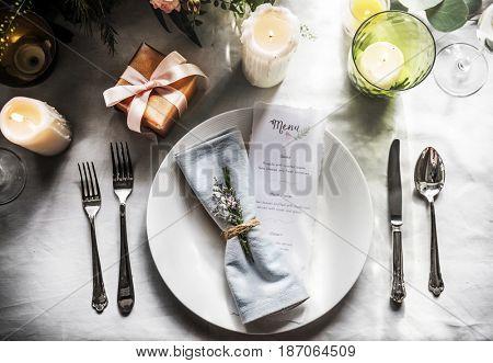 Ornate decoration for wedding ceremony romance dining