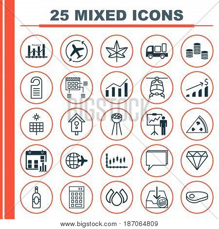 Set Of 25 Universal Editable Icons. Can Be Used For Web, Mobile And App Design. Includes Elements Such As Price, Presentation Date, Grill And More.