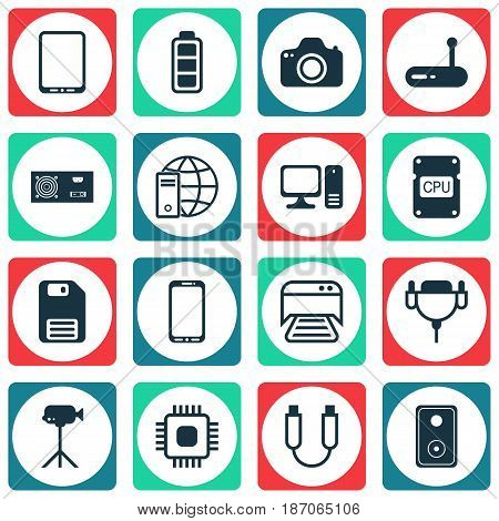 Set Of 16 Computer Hardware Icons. Includes Cellphone, Diskette, Desktop Computer And Other Symbols. Beautiful Design Elements.