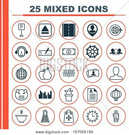 Set Of 25 Universal Editable Icons. Can Be Used For Web, Mobile And App Design. Includes Elements Such As Group, Extract Device, Trading And More.