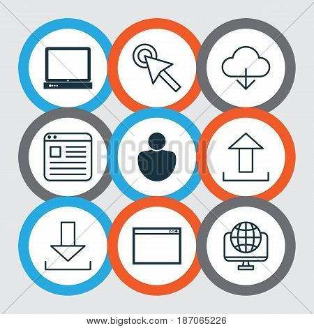 Set Of 9 World Wide Web Icons. Includes PC, Computer Network, Program And Other Symbols. Beautiful Design Elements.