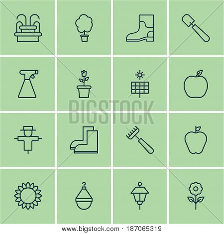 Set Of 16 Farm Icons. Includes Water Monument, Nectarine, Decorative Plant And Other Symbols. Beautiful Design Elements.