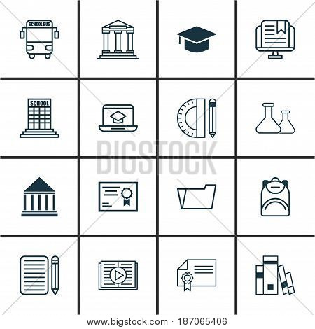 Set Of 16 School Icons. Includes Haversack, Taped Book, Academy And Other Symbols. Beautiful Design Elements.