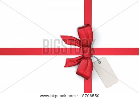 red ribbon with blank gift tag
