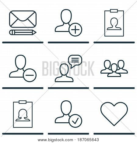 Set Of 9 Communication Icons. Includes Remove User, Talking Person, Team And Other Symbols. Beautiful Design Elements.