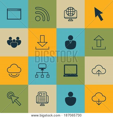 Set Of 16 Online Connection Icons. Includes Cursor Tap, Blog Page, Account And Other Symbols. Beautiful Design Elements.