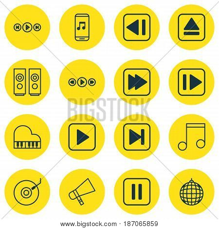 Set Of 16 Audio Icons. Includes Sound Box, Extract Device, Music Control And Other Symbols. Beautiful Design Elements.