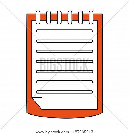color silhouette image cartoon notebook spiral with sheets vector illustration
