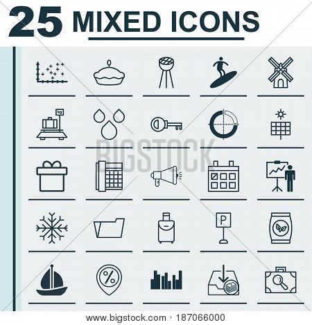 Set Of 25 Universal Editable Icons. Can Be Used For Web, Mobile And App Design. Includes Elements Such As Present, Flan, Boardsports And More.