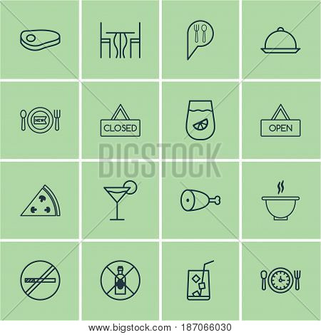 Set Of 16 Restaurant Icons. Includes No Drinking, Steak, Bowl And Other Symbols. Beautiful Design Elements.
