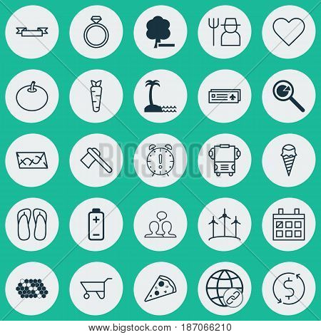 Set Of 25 Universal Editable Icons. Can Be Used For Web, Mobile And App Design. Includes Elements Such As Airport Card, Tomahawk, Route And More.