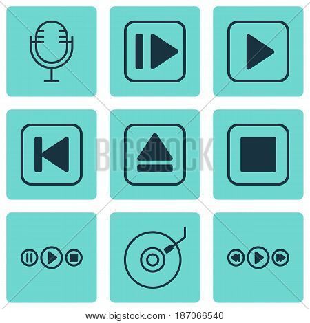 Set Of 9 Music Icons. Includes Music Control, Extract Device, Start Song And Other Symbols. Beautiful Design Elements.