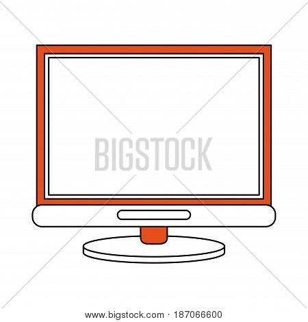 color silhouette image cartoon front view computer display with base vector illustration