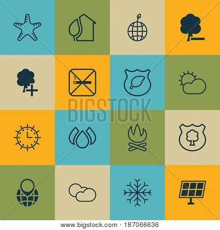 Set Of 16 Eco Icons. Includes Insert Woods, Delete Woods, Aqua And Other Symbols. Beautiful Design Elements.