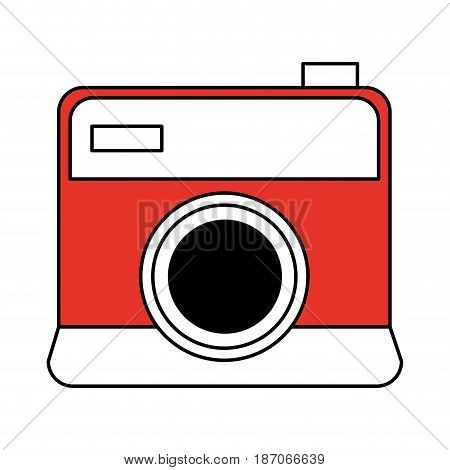 color silhouette image cartoon analog camera with flash vector illustration