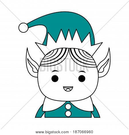 color silhouette image cartoon half body christmas elf with long ears vector illustration