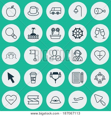 Set Of 25 Universal Editable Icons. Can Be Used For Web, Mobile And App Design. Includes Elements Such As Nectarine, Vga Cord, Takeaway Coffee And More.