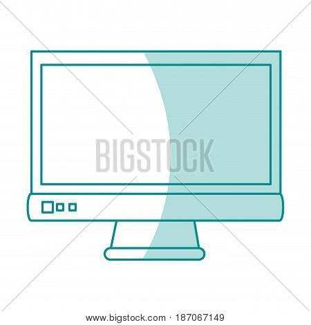 blue shading silhouette image cartoon front view computer display with buttons vector illustration