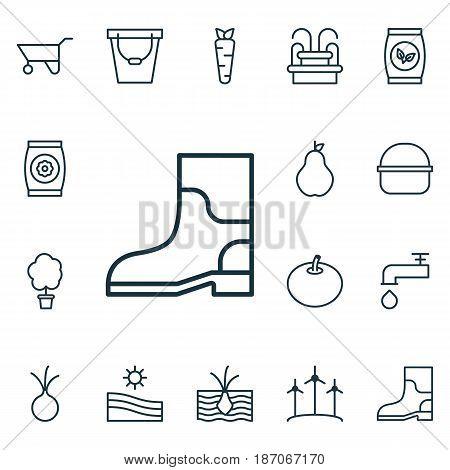 Set Of 16 Plant Icons. Includes Grains, Pail, Fertilizer And Other Symbols. Beautiful Design Elements.