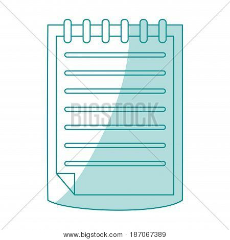 blue shading silhouette cartoon notebook spiral with sheets vector illustration