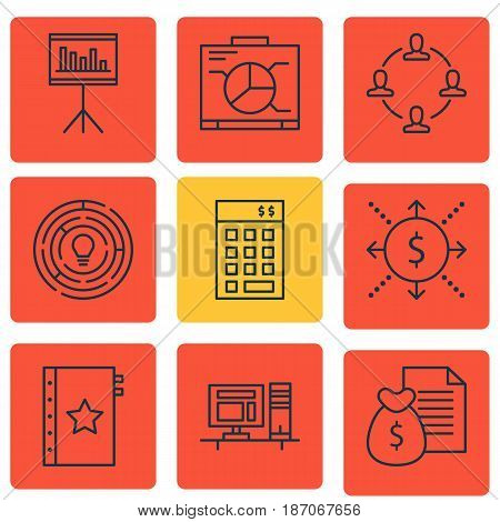 Set Of 9 Project Management Icons. Includes Innovation, Warranty, Collaboration And Other Symbols. Beautiful Design Elements.
