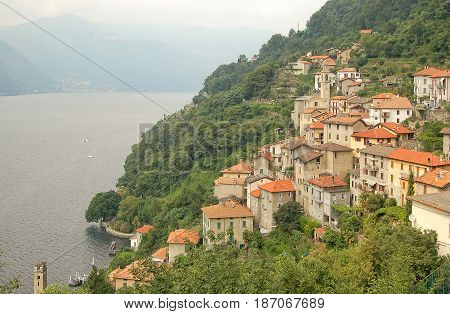 Lezzeno on the hillside on the western shore of Lake Como - Lombardy Italy