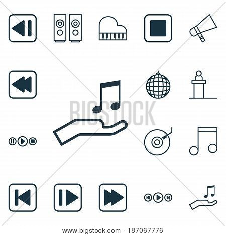 Set Of 16 Audio Icons. Includes Note Donate, Last Song, Following Music And Other Symbols. Beautiful Design Elements.