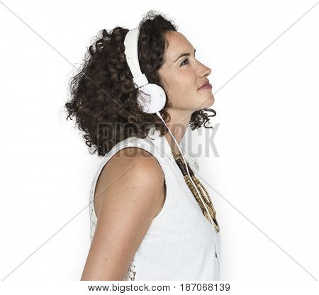 Caucasian Woman Listening Headphones