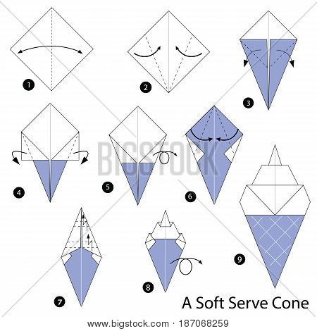 step by step instructions how to make origami A Soft Cream.